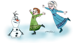 Elsa, Anna and Olaf on ice (transparent png) by AgnessAngel