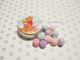 Dollhouse Miniature Macarons in Pooh Tin by ilovelittlethings
