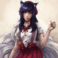 Ahri School Girl Fanart by Sonellion