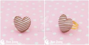Pink chocolate heart Ring by CuteMoonbunny