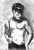 Drawing Male Torso 1991 #5 by YaquiStag