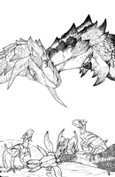 Rathalos and Rathian by r-heinart