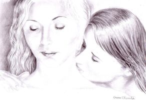 A kiss on her neck sentimental drawing by CORinAZONe