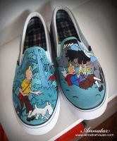 Tin Tin Adventure , custom shoes by Annatarhouse