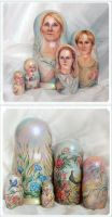 Jubilar portrait on nested doll by Svetlana-Eliro
