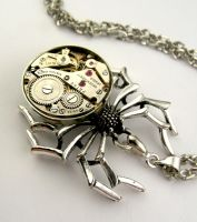 Steampunk watch movement spider pendant by SteamSect