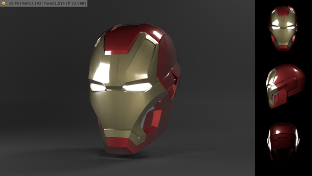 3d Ironman Mark 42 Head by jugapugz