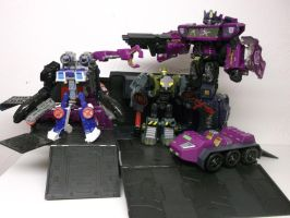 SHATTERED GLASS OPTIMUS, SEASPRAY, AND BEACHCOMBER by forever-at-peace