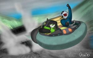 Drakken and Shego escape by Slyrr
