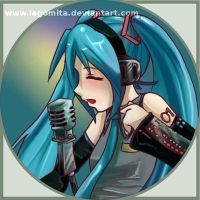 hatsune miku button by LaGomita