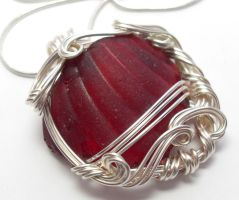 Ruby Red Maine Sea Glass Necklace by sojourncuriosities