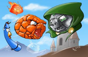 TLIID 133. Fantastic Four as Angry Birds by AxelMedellin