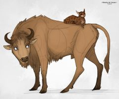 Cat and Bison by NatalieDeCorsair