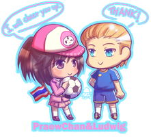 Commission - PraewChang and Ludwig in chibi form by 666azarashi666