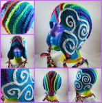 Crocheted Double Rainbow Hat by SilverRain8