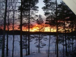 Winter scene in Finland at evening by Akirash