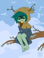 Huntress Acolyte sittin in a tree by Kairu-Hakubi