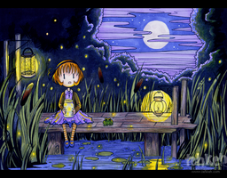 Milly and Fireflies by tea-bug