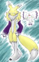 Renamon and Culumon_Recolored_ by Eledora