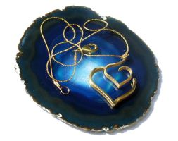 Dual hearts gold necklace by milkool