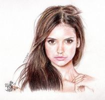 Nina Dobrev (Vampire Diaries) [Colored pencils] by chaseroflight