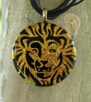 Golden Lion Fused Glass by FusedElegance