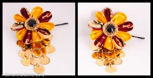 Autumn Harvest Kanzashi Flower Completed by Saknika