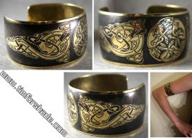 Brass Bracelet Celtic ornaments Celtic Wolves by TimforShade