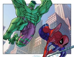 Spidey vs Hulk by EagleGosselin