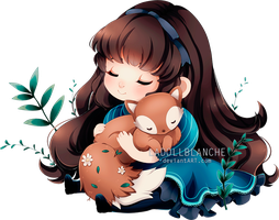 girl with fox by LaDollBlanche
