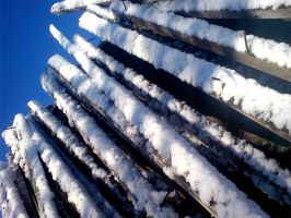 Snow on Old Beams 02 by darkhoodness