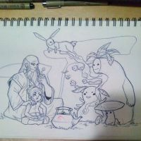 Korra, Iroh and Spirits by TheVioletPanda