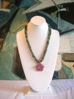 Toumaline-Moss Agate Necklace by Hen-na-Ningyo