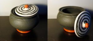 Pottery pot with lid by Tyliss