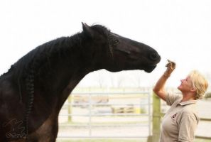 good friends - Janosch Friesian with his owner by Nexu4