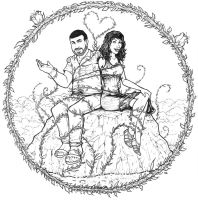Wedding Save the Date commission - linework by DGanjamie