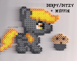 Derpy Perler and Muffin by jewlecho