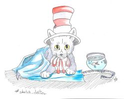 Sketch Dailies - Cat in the hat by CookieKipenda