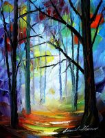 Foggy park 2 by Leonid Afremov by Leonidafremov