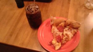 2 pizza slices and a root beer by mylesterlucky7