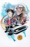 Watercolor Back to the Future by mikemaihack