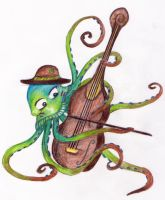 Octopus Playing 'Cello by sivvus