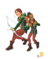 Katniss and Rue, Hunger Games by RickMays