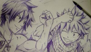 Gray-Natsu - Ball Point Sketch by Iza-nagi