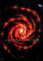 Red whirlwind galaxy, Space travel sci-fi fantasy by SOFIAMETALQUEEN