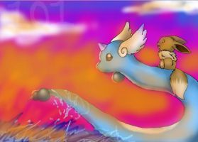 Eevee and Dragonair by SandPath101