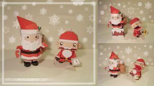 Two Santas - papercraft by Lyrin-83