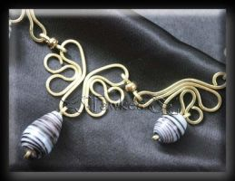 Zebra wire necklace 2 by Fawkesgirl