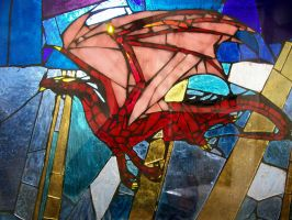 Crimson Dragon - Stained Glass by Belinofente