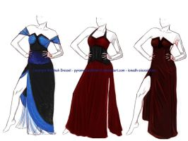 formal gowns by PyromaniacFeline17
